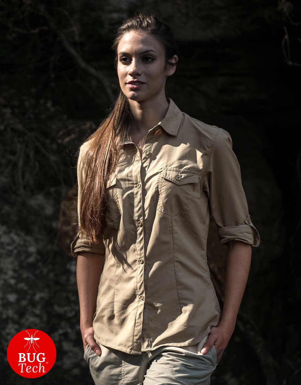 Women's Pioneer Anti-insect Safari Shirt in Colour Safari Khaki Katavi