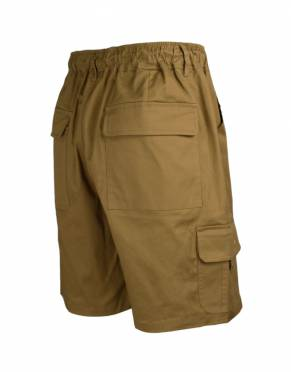 The rear view of the Men's Savute Safari Cargo Shorts in safari-suitable Kalahari - a great tone to add to your safari wardrobe.