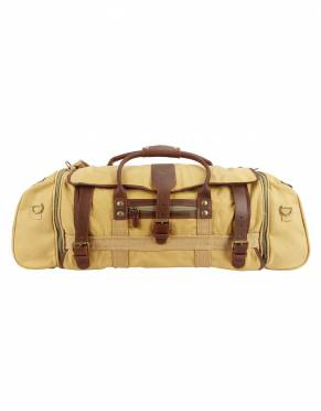 Inspired by the golden age of safari, this bag comes in classic Khaki Tan canvas with rich leather detail.