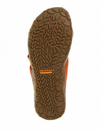Merrell's Terran Post Sandals in Red Clay (sole view).