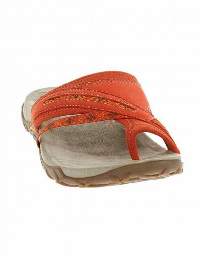 Merrell's Terran Post Sandals in Red Clay (front view).