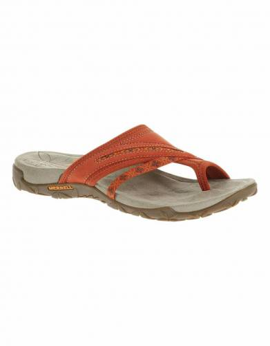 Merrell's Terran Post Sandals in Red Clay (side view).