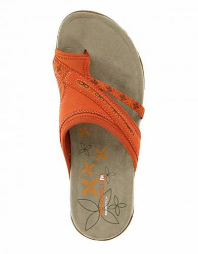 Merrell's Terran Post Sandals in Red Clay (top view).