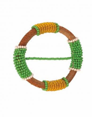 Beaded Leather Sarong Clasps: KFA13-GREEN/YELLOW