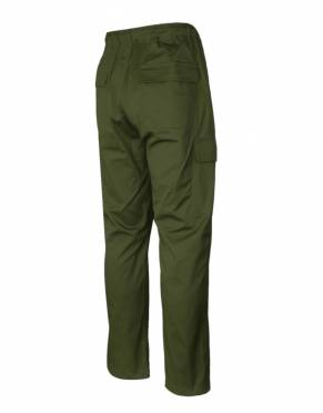 The rear view of the Men's Savute Safari Cargo Pants in Forest. These olive green cargo pants are made for the bush - and rugged style back home.