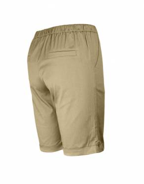 The rear view of the Serengeti Women's Safari Shorts in Savannah. The slit pocket design adds a sophisticated touch to these smart safari shorts