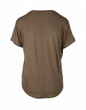 The back view of the Serengeti Safari V-Neck T-Shirt in Safari Earth.