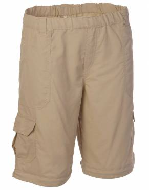 The benefit of convertible trousers is their flexibility for travel. Pictured here in Baobab honeycomb ripstop anti-insect fabric, these safari-friendly children's shorts are a favourite in Africa.