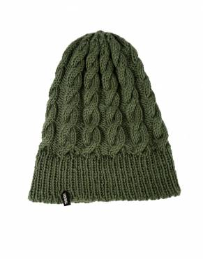 Soft, warm, and safari-suitable, this Winter Sage cable knit beanie can be worn on every activity on safari. Leave the bottom unfolded for a slouched fit.