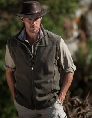 We recommend wearing safari-friendly, neutral colours on safari. Pictured here in Olive, this gilet has a Sand collar and its stylish colour is both safari suitable and stylish enough to wear every day.