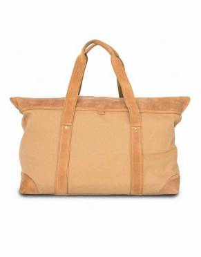 In full-tan cotton canvas with tan top-grain leather, this safari-styled travel bag is a true classic