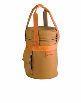 In classic tan, this champagne cooler has the safari styling for convenience on drink stops in any location.