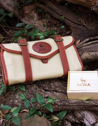 The Mara&Meru™ canvas and leather Selous Washbag can be rolled up and tucked into your luggage, making it the perfect expedition companion.