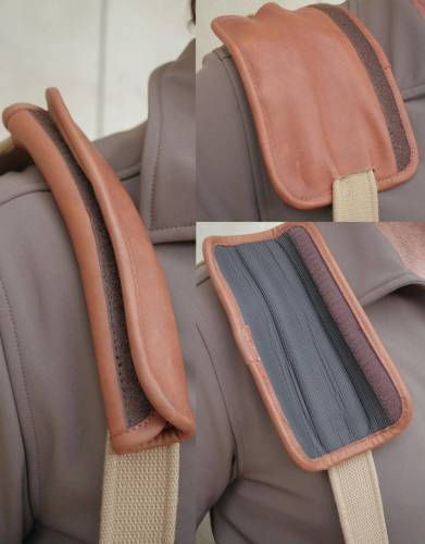 CLOCKWISE (from left): A leather patch on the shoulder strap unfolds to create a comfortable shoulder pad. Simply turn the pad around and you have a padded layer with grip on which to rest your rifle butt for clay pigeon shooting.