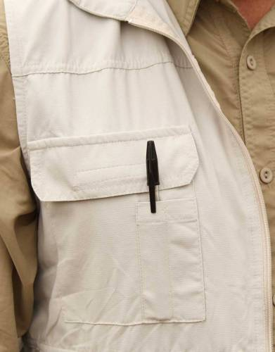 A real expedition gilet, the one front pocket has two small slots for pens or a small torch.