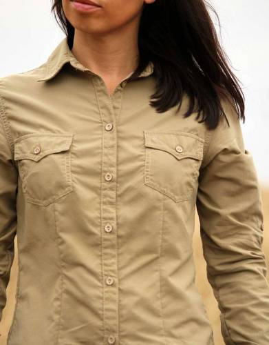 The two chest pockets have button closure and are both functional and design features that enhance the overall look of the shirt.