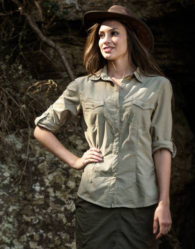 Gone are the days of unflattering safari clothing. When it comes to protection on safari and outdoors, this shouldn't mean a compromise on style. This shirt offers the best of both worlds with the features of our BUGTech Ripstop fabric and a feminine fit.