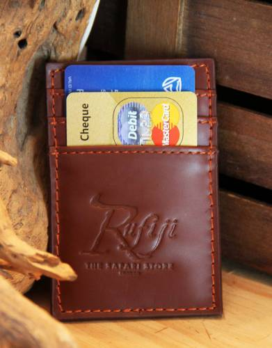 The Rufiji™ Leather Safari Money Clip contains three slots for credit cards and/or business cards.