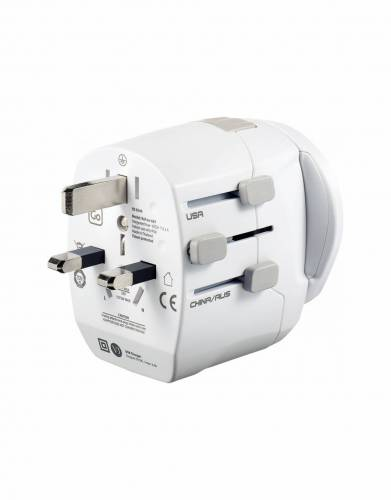 A detachable Euro adaptor converts 3-pole earthed plugs to fit most European sockets