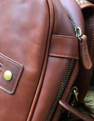 The brass zips are strong and complement the overall vintage styling of the bag.