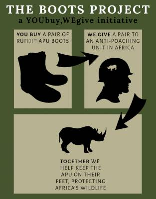 This is a YOUbuy,WEgive product. For every pair of boots you buy we will donate one to an Anti-Poaching Unit in Africa.