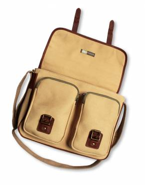 Add a bit of safari style and practicality to your business look with this versatile satchel. In strong and beautiful canvas and leather, it has thoughtful design features you will use in the boardroom and on the back of Land Rovers.