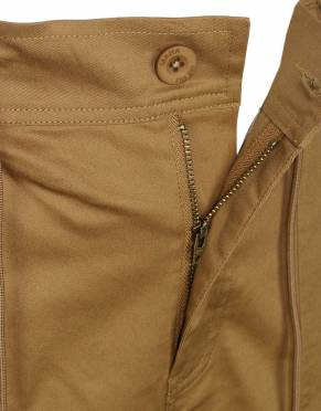 These safari and outdoor cargo pants fasten with a button and fly.