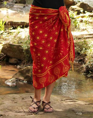 The vibrant Kanga is versatile and can be worn in a variety of different styles