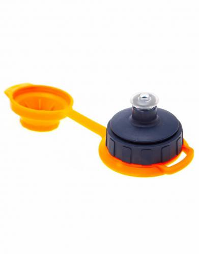 Screw top with water-tight lid and chew-proof replaceable drinking nozzle.