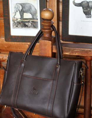 A business bag inspired by safari sophistication, the Mara&Meru Business Bag is made from natural, smooth safari-grade leather.