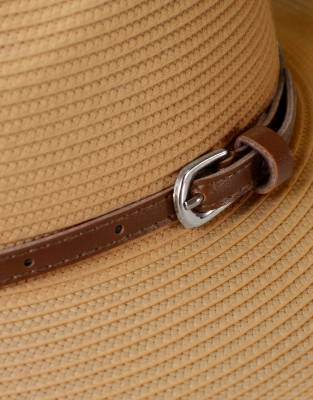 The leather band and buckle detail complement the overall styling of this fashionable fedora for safari and everyday flair.