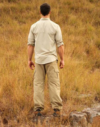 Made from lightweight, strong, and cool 100% Rufiji™ honeycomb BUGTech™ fabric with moisture wicking and built-in SPF and anti-insect treatment, these trousers are a top choice for safari and outdoor travels.