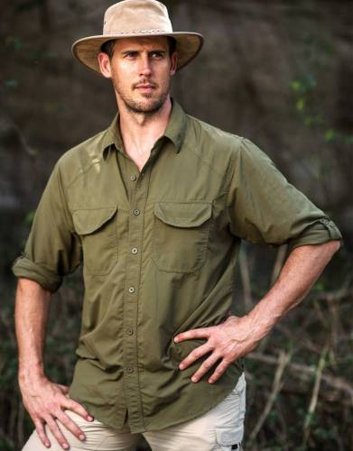 Pictured here in Khaki Olive, safari colours are always a fashionable choice and are suited to the African bush and outdoors.