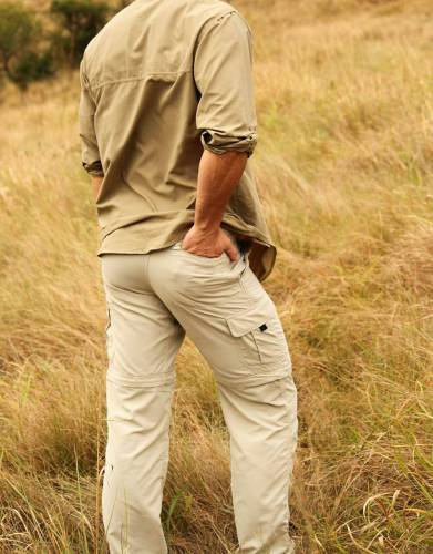 On walking safaris, game drives, and outdoor activities, having plenty of pockets is always useful. With five multi-functional pockets including a zipped back security pocket, two cargo pockets, and two hand pockets, carry your accessories with you.