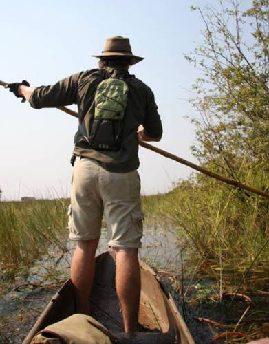 Expedition-tested by Justin in the Okavango Delta, these trousers were well-worn and their quick-drying, sun-protective, wicking fabric was especially effective in keeping him cool and comfortable on the water.