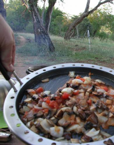 Premier Cobb™ Frying pan being used by Steve in iMfolozi Game Reserve. Don't forget to always get the pan to heat first.