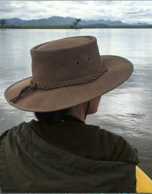 Expedition-tested by Claire on the Three Rivers Expedition, this leather hat was useful against both sun and drizzle on the Zambezi River.