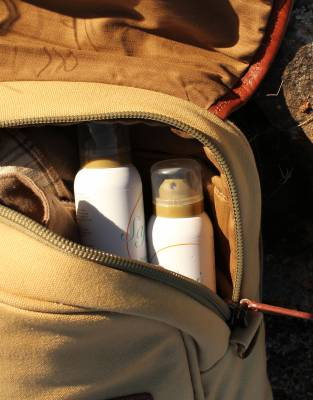 In a compact aerosol can, tuck SafariSUN into your handbag, satchel, or backpack on safari and all outdoor adventures.
