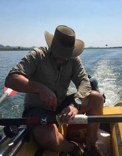 Expedition-tested by Steve on the Kafue River, the tools of the SOG PowerAssist Safari Knife were put through their paces fixing a broken oar on the water.