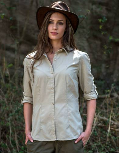 Made from MaraTech™ RipStop fabric with moisture wicking, built-in SPF, and SilverPlus anti-bacterial technology, this shirt offers all the features of our bestselling long-sleeved shirts without pockets to suit the preference of every safari woman.