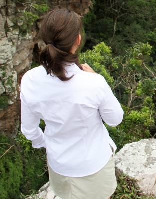 The Mara&Meru™ Great White Shirt is slightly shorter than the Boyfriend shirt.