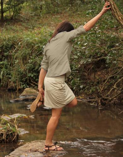 The rise of these skorts sits just above the natural waist for a comfortable, stylish fit and mobility for outdoor adventures.