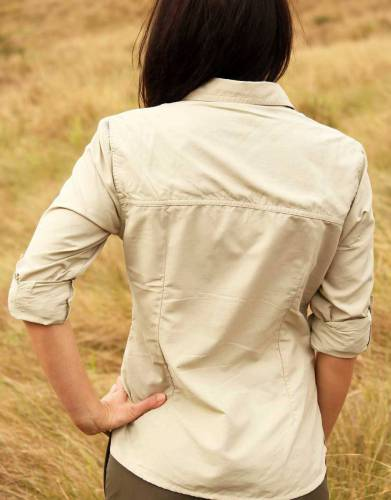 Our MaraTech fabric combines the strength of Ripstop with moisture wicking capabilities and built-in sun protection to make a shirt built for outdoor conditions in Africa. The cut and fit of this shirt make it functional, as well as feminine and stylish.