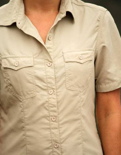 Two chest pockets with button closure add to the overall look and styling of the shirt.