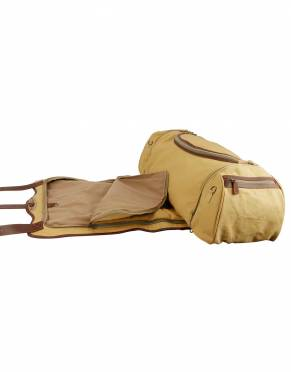 This luxury canvas and leather duffle bag has a built-in suit bag with a folding garment bag design for additional space as you travel on safari, on business, and for holidays.
