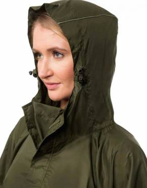 The Essential Waterproof Safari Poncho has an elasticated three-piece hood, which is adjustable according to the conditions
