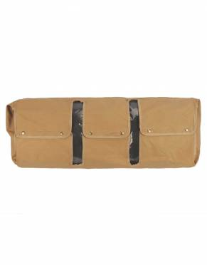 This luggage protector is secured over your duffle bag using antique brass press studs, with slots for both the carrying handles and shoulder strap