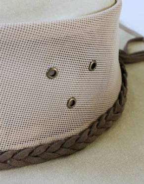 The women's explorer canvas safari hat has three neat holes on each side for extra ventilation - in addition to the mesh