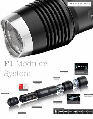 Easy access is guaranteed with the modular system used by the Led Lenser F1 torch. Makes cleaning and caring for your torch as easy as F1, F2, F3.