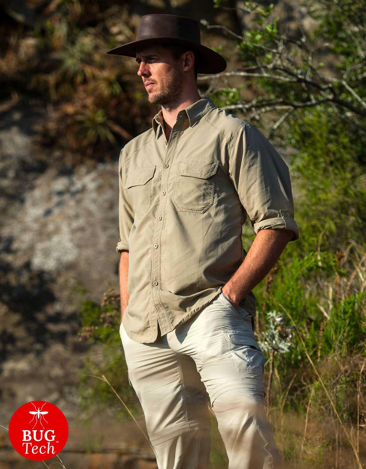 Men's Explorer Anti-Insect Safari Shirt in Colour Safari Khaki Katavi